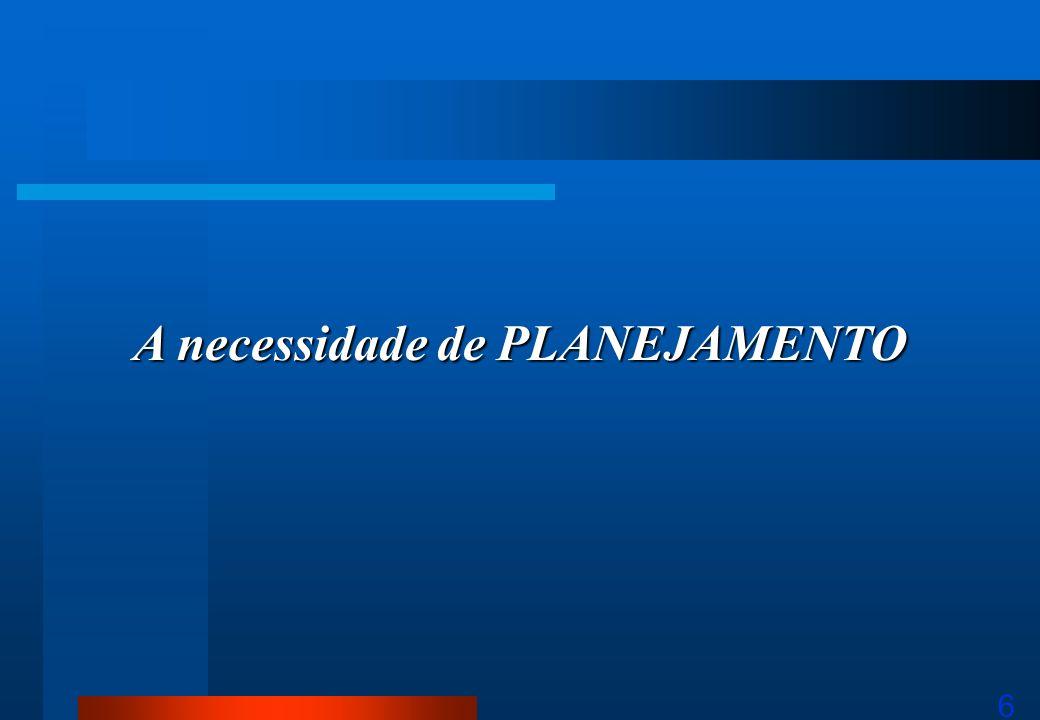6 A necessidade de PLANEJAMENTO