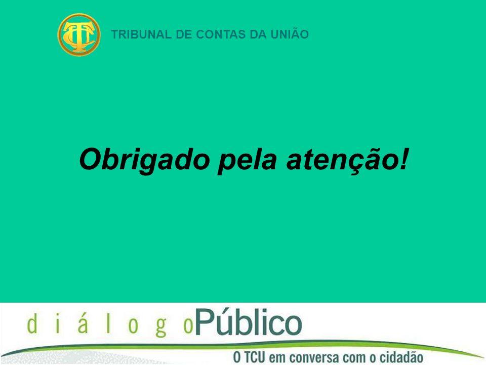 TRIBUNAL DE CONTAS DA UNIÃO Obrigado pela atenção!