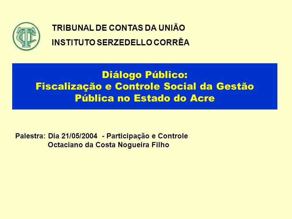 Diálogo Público: Fiscalização e Controle Social da Gestão Pública no Estado do Acre TRIBUNAL DE CONTAS DA UNIÃO INSTITUTO SERZEDELLO CORRÊA Palestra: Dia 21/05/2004 - Participação e Controle Octaciano da Costa Nogueira Filho