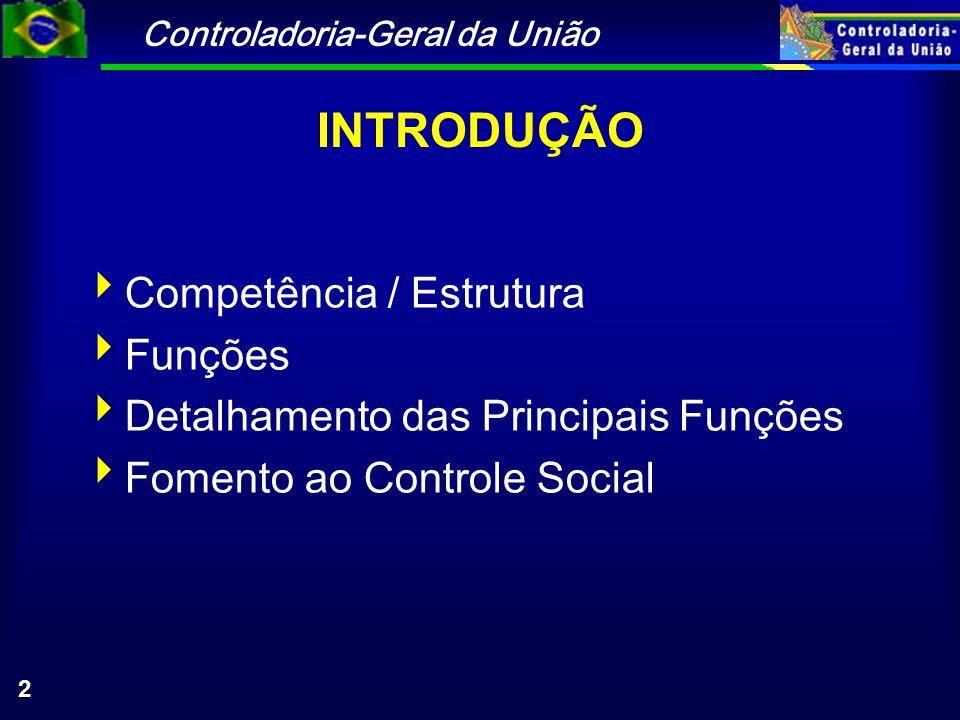 Controladoria-Geral da União 2 INTRODUÇÃO Competência / Estrutura Funções Detalhamento das Principais Funções Fomento ao Controle Social