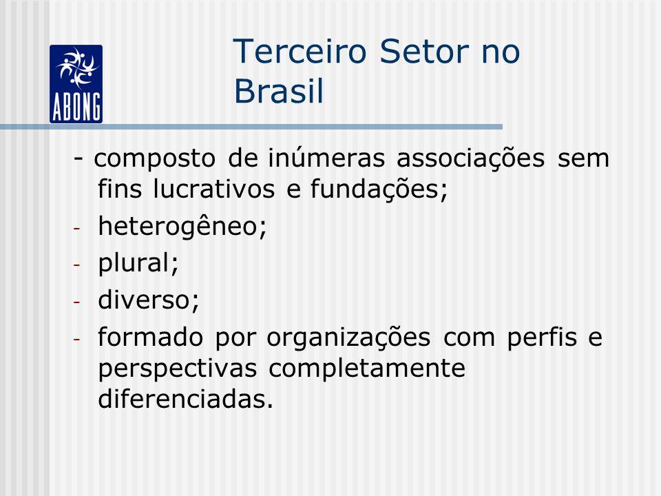 Terceiro Setor no Brasil - composto de inúmeras associações sem fins lucrativos e fundações; - heterogêneo; - plural; - diverso; - formado por organizações com perfis e perspectivas completamente diferenciadas.