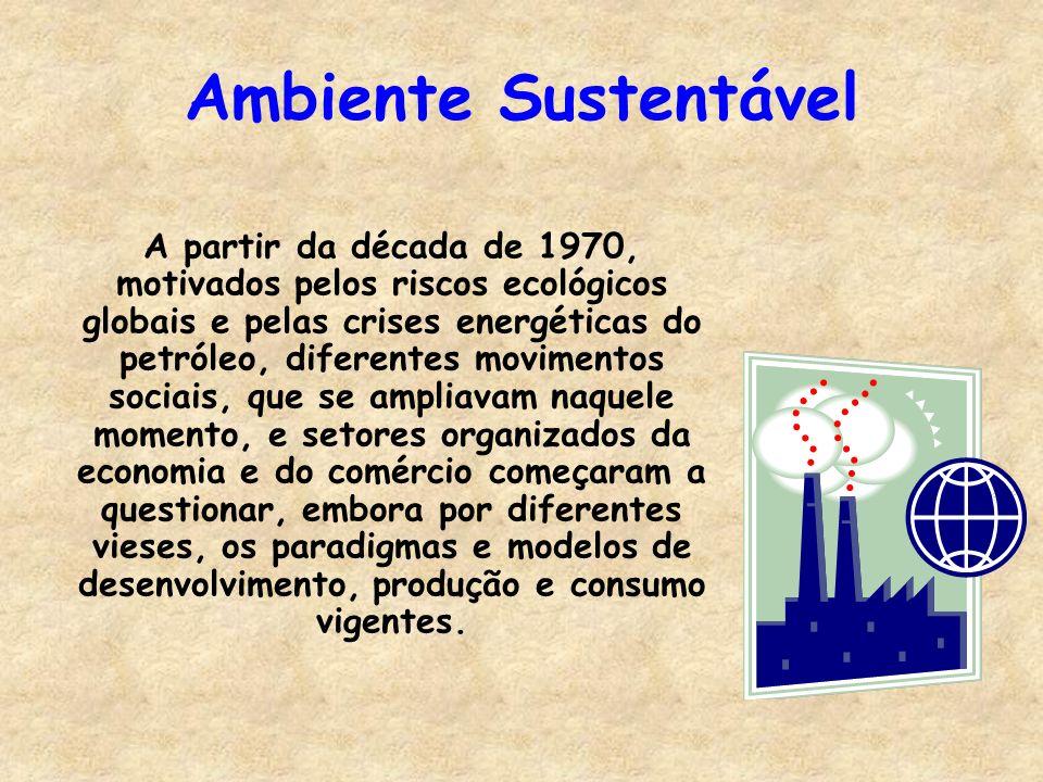 Ambiente Sustentável A partir da década de 1970, motivados pelos riscos ecológicos globais e pelas crises energéticas do petróleo, diferentes moviment