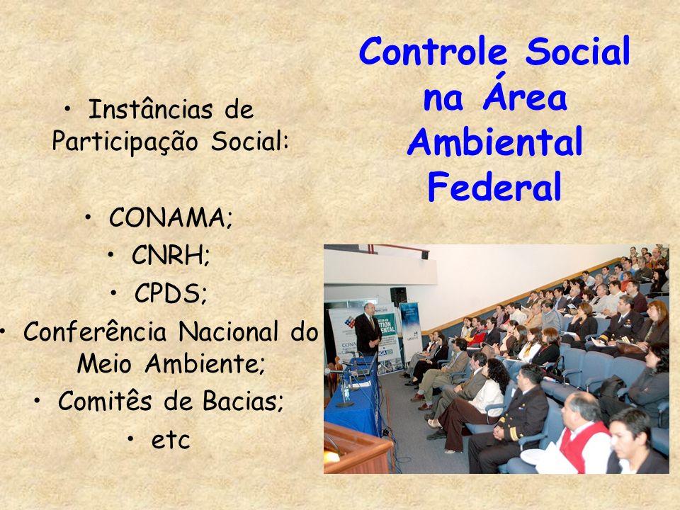 Controle Social na Área Ambiental Federal Instâncias de Participação Social: CONAMA; CNRH; CPDS; Conferência Nacional do Meio Ambiente; Comitês de Bac