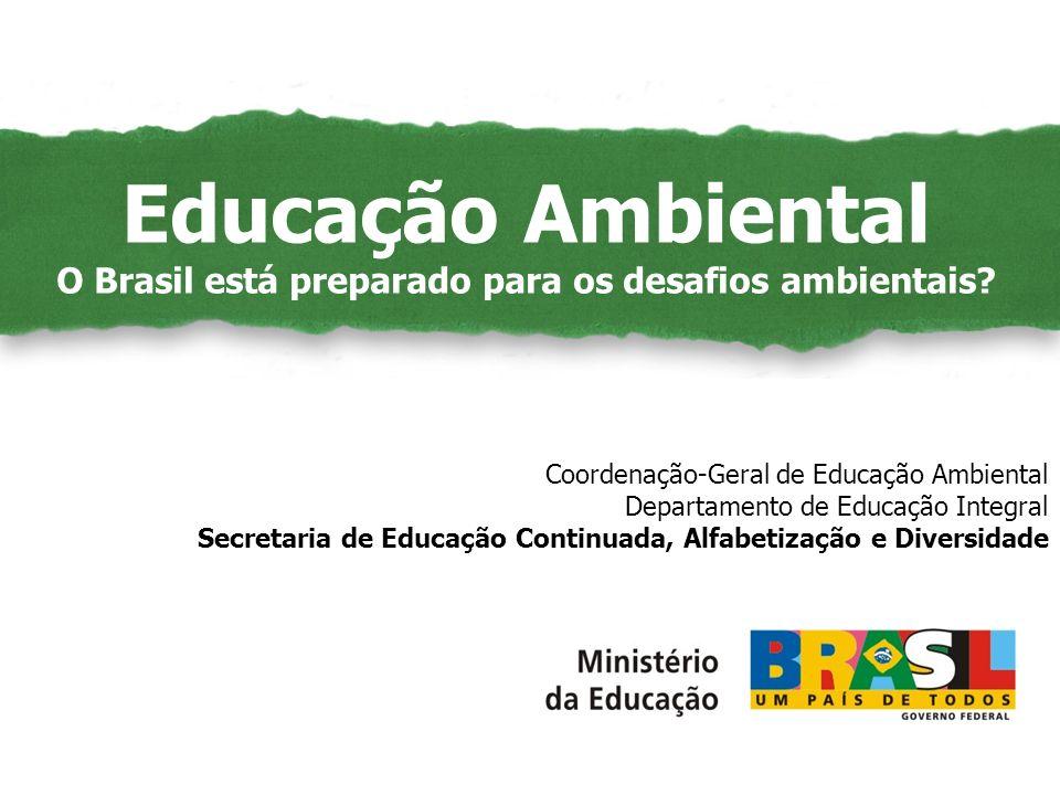 Educação Ambiental como Políticas Públicas Coordenação-Geral de Educação Ambiental Departamento de Educação Integral Secretaria de Educação Continuada, Alfabetização e Diversidade Educação Ambiental O Brasil está preparado para os desafios ambientais