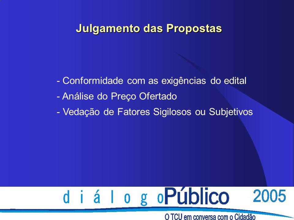 Julgamento das Propostas - Conformidade com as exigências do edital - Análise do Preço Ofertado - Vedação de Fatores Sigilosos ou Subjetivos