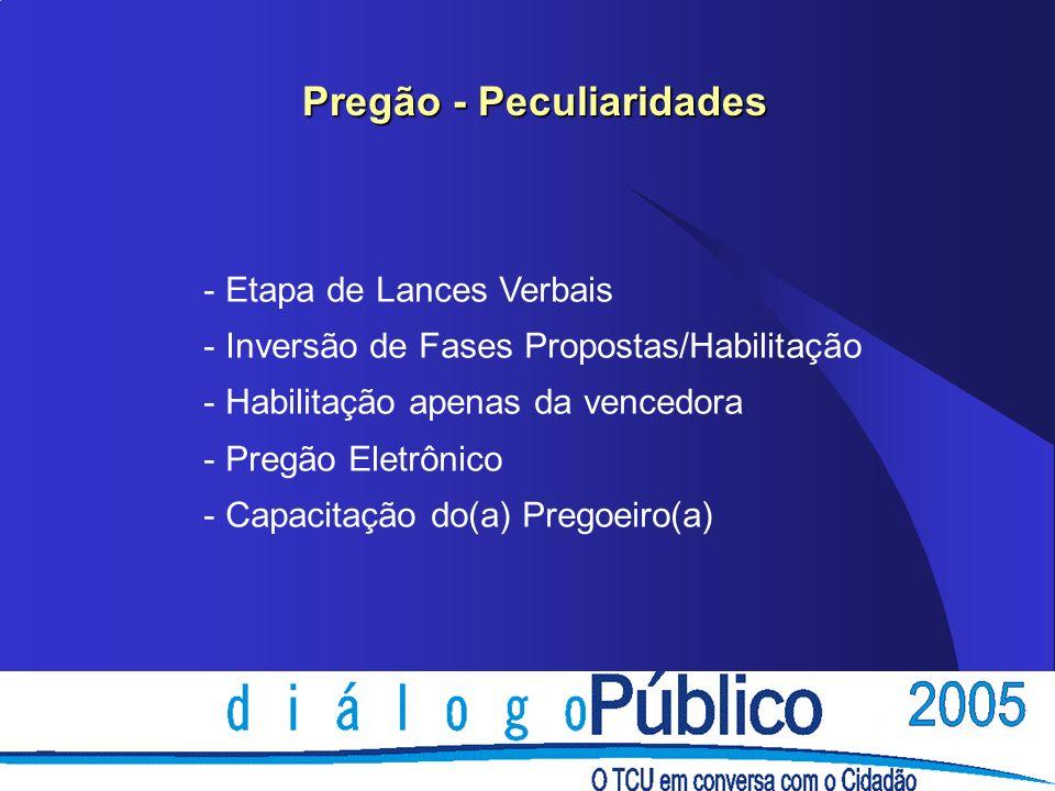 Pregão - Peculiaridades - Etapa de Lances Verbais - Inversão de Fases Propostas/Habilitação - Habilitação apenas da vencedora - Pregão Eletrônico - Ca