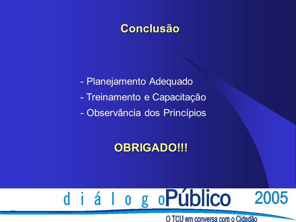 Conclusão - Planejamento Adequado - Treinamento e Capacitação - Observância dos Princípios OBRIGADO!!!