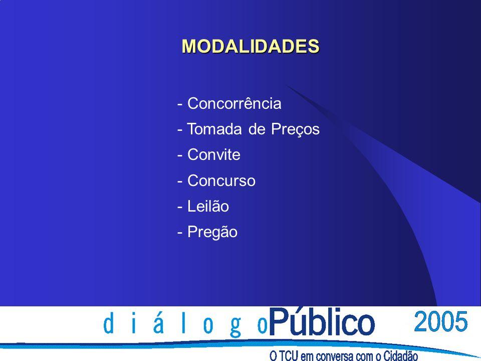 MODALIDADES - Concorrência - Tomada de Preços - Convite - Concurso - Leilão - Pregão