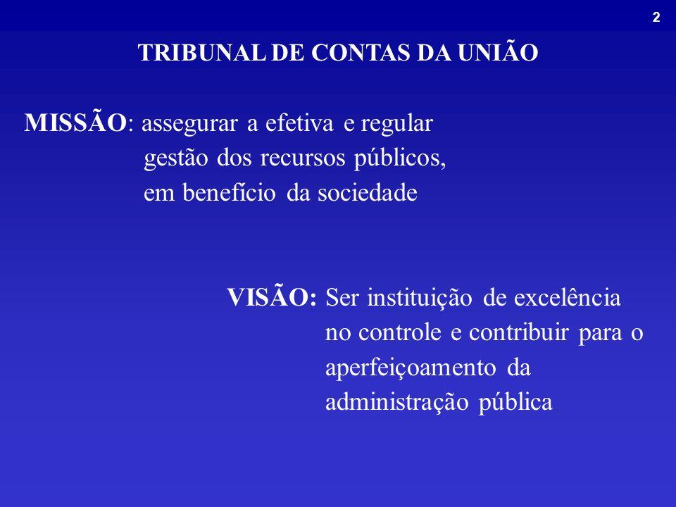 2 MISSÃO: assegurar a efetiva e regular gestão dos recursos públicos, em benefício da sociedade VISÃO: Ser instituição de excelência no controle e contribuir para o aperfeiçoamento da administração pública TRIBUNAL DE CONTAS DA UNIÃO