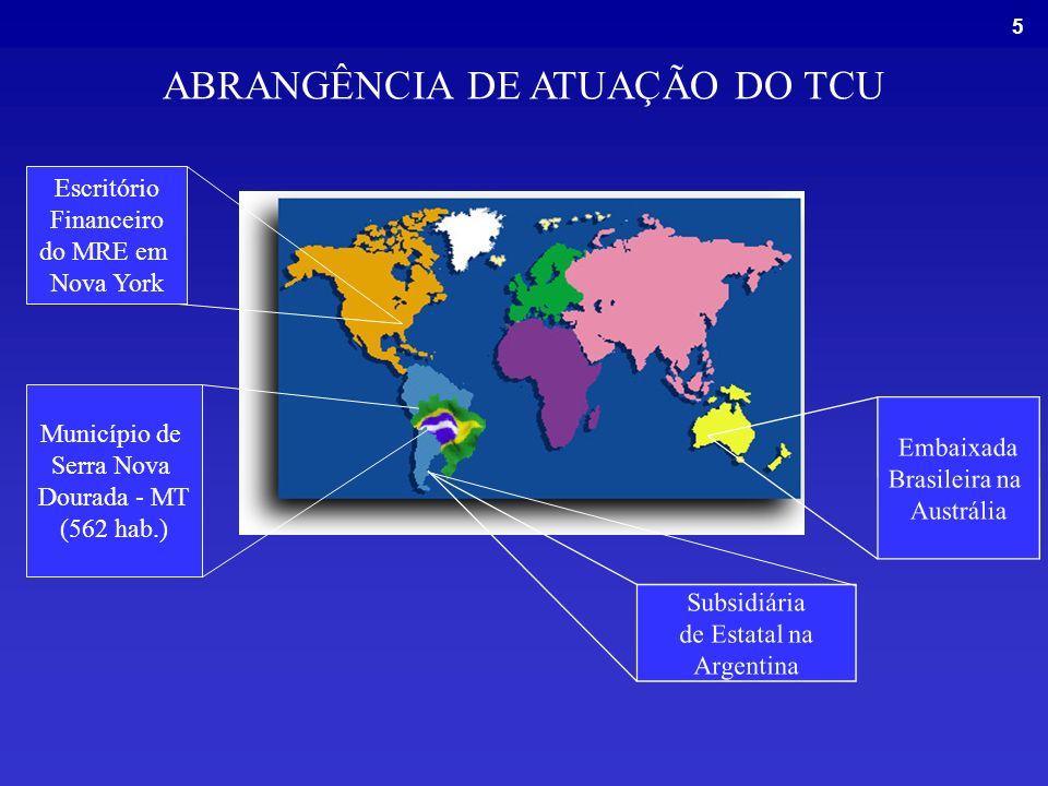 5 ABRANGÊNCIA DE ATUAÇÃO DO TCU Escritório Financeiro do MRE em Nova York Embaixada Brasileira na Austrália Município de Serra Nova Dourada - MT (562