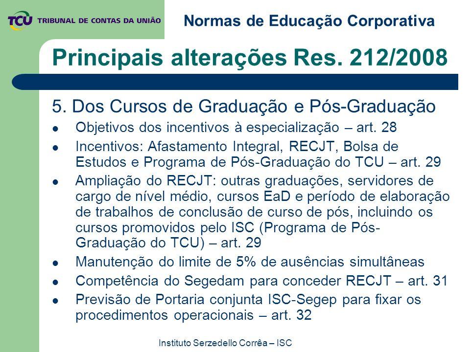 Normas de Educação Corporativa Instituto Serzedello Corrêa – ISC Principais alterações Res. 212/2008 5. Dos Cursos de Graduação e Pós-Graduação Objeti