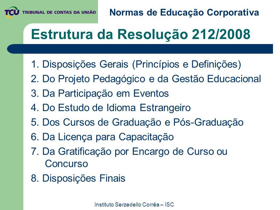 Normas de Educação Corporativa Instituto Serzedello Corrêa – ISC Estrutura da Resolução 212/2008 1. Disposições Gerais (Princípios e Definições) 2. Do