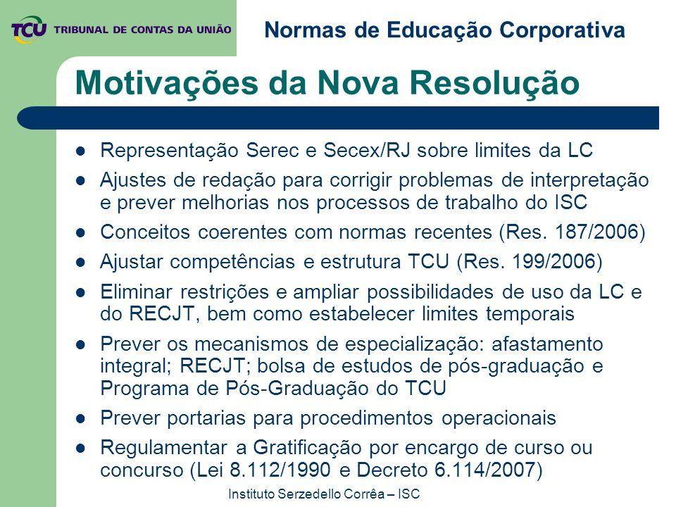 Normas de Educação Corporativa Instituto Serzedello Corrêa – ISC Motivações da Nova Resolução Representação Serec e Secex/RJ sobre limites da LC Ajust