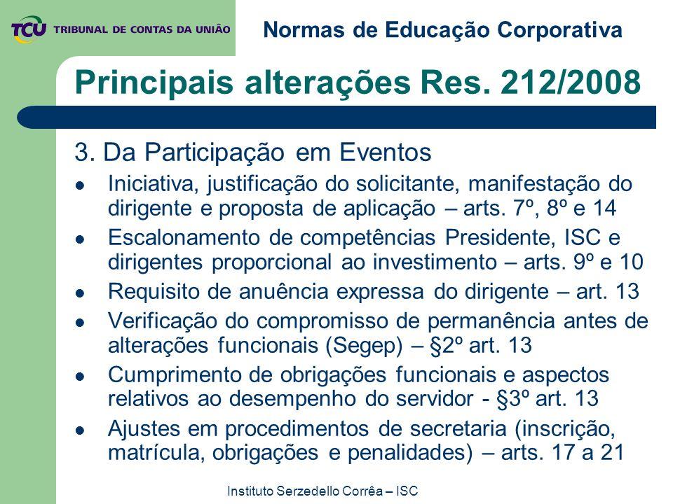 Normas de Educação Corporativa Instituto Serzedello Corrêa – ISC Principais alterações Res. 212/2008 3. Da Participação em Eventos Iniciativa, justifi