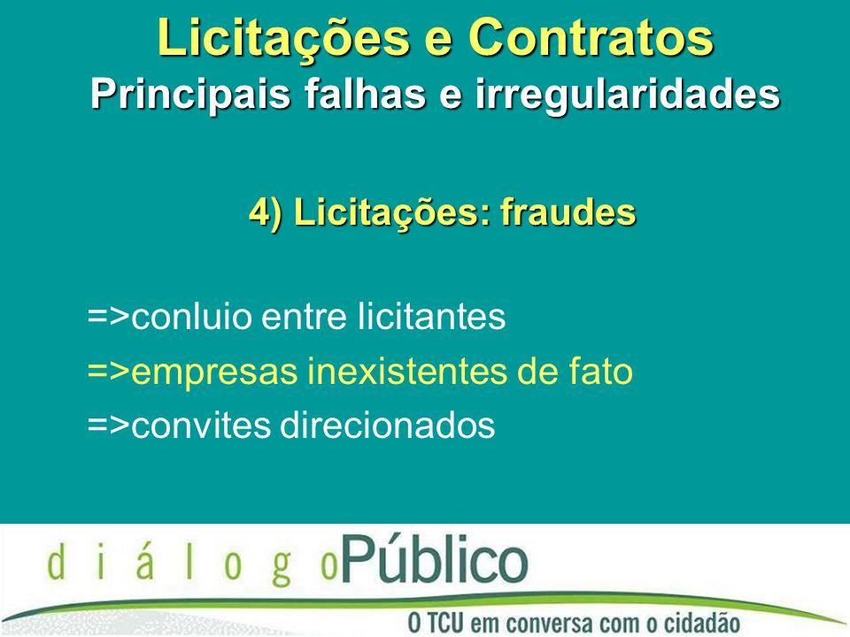 Licitações e Contratos Principais falhas e irregularidades 4) Licitações: fraudes =>conluio entre licitantes =>empresas inexistentes de fato =>convite