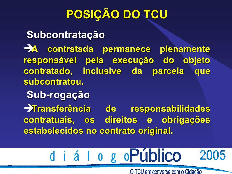 POSIÇÃO DO TCU Subcontratação Subcontratação è A contratada permanece plenamente responsável pela execução do objeto contratado, inclusive da parcela que subcontratou.