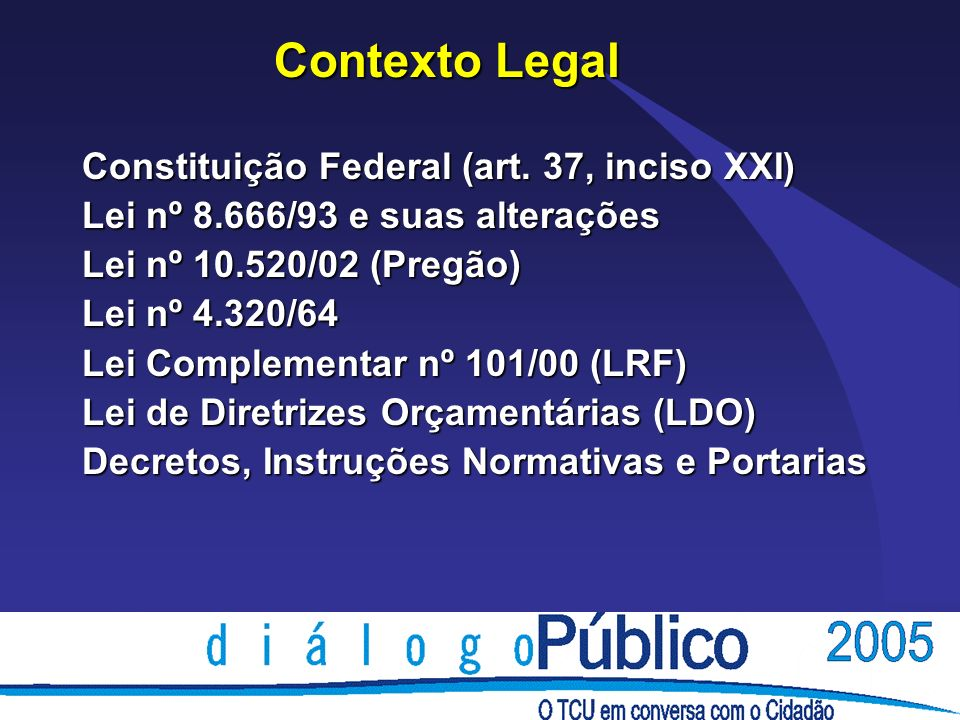 Contexto Legal Constituição Federal (art.