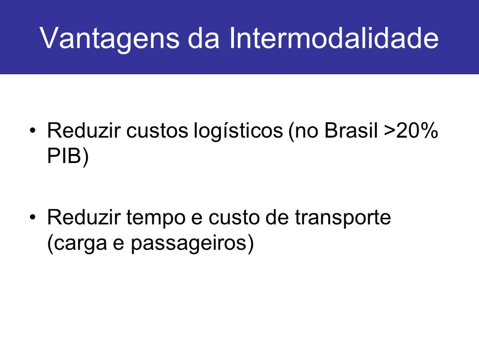 Vantagens da Intermodalidade Reduzir custos logísticos (no Brasil >20% PIB) Reduzir tempo e custo de transporte (carga e passageiros)
