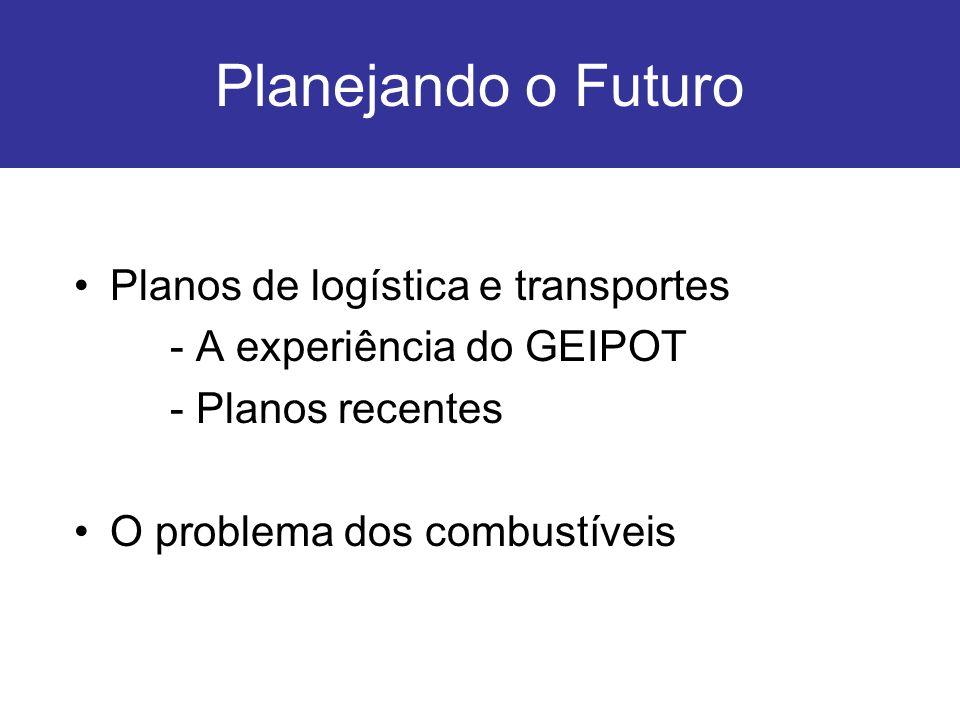 Planejando o Futuro Planos de logística e transportes - A experiência do GEIPOT - Planos recentes O problema dos combustíveis