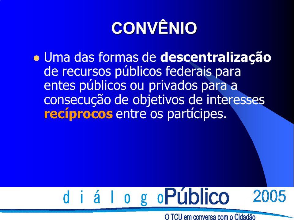 CONVÊNIOS E CONTRATOS DIFERENÇAS Contrato (partes): interesses opostos; Convênio (partícipes): interesses comuns; coincidência de objetivos institucionais.