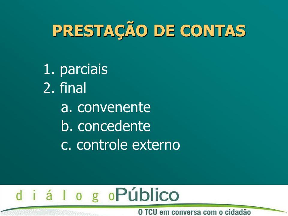 PRESTAÇÃO DE CONTAS 1. parciais 2. final a. convenente b. concedente c. controle externo