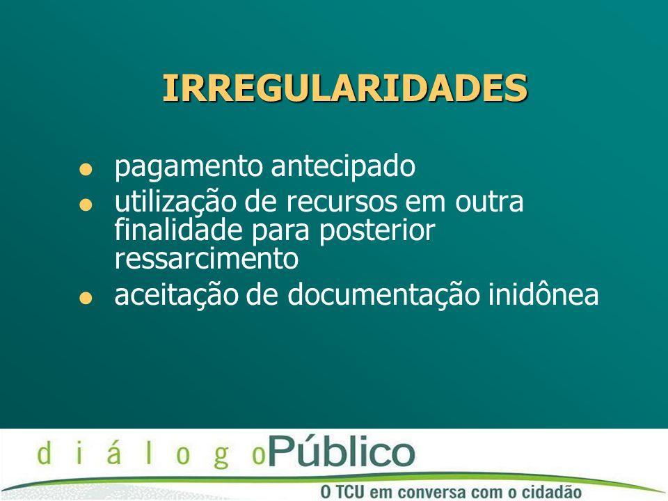 IRREGULARIDADES pagamento antecipado utilização de recursos em outra finalidade para posterior ressarcimento aceitação de documentação inidônea