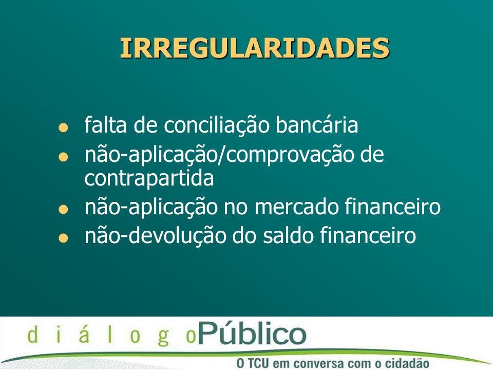 IRREGULARIDADES falta de conciliação bancária não-aplicação/comprovação de contrapartida não-aplicação no mercado financeiro não-devolução do saldo financeiro