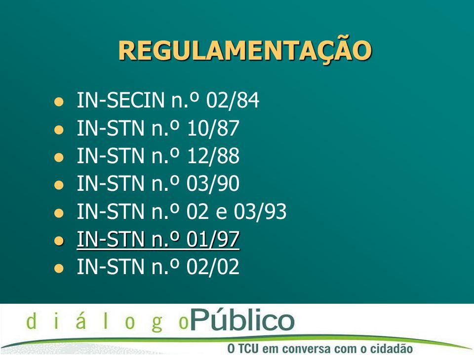 REGULAMENTAÇÃO IN-SECIN n.º 02/84 IN-STN n.º 10/87 IN-STN n.º 12/88 IN-STN n.º 03/90 IN-STN n.º 02 e 03/93 IN-STN n.º 01/97 IN-STN n.º 01/97 IN-STN n.º 02/02