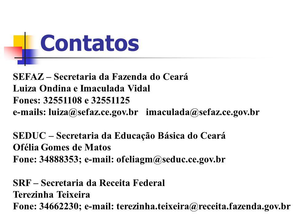 Contatos SEFAZ – Secretaria da Fazenda do Ceará Luiza Ondina e Imaculada Vidal Fones: 32551108 e 32551125 e-mails: luiza@sefaz.ce.gov.br imaculada@sef