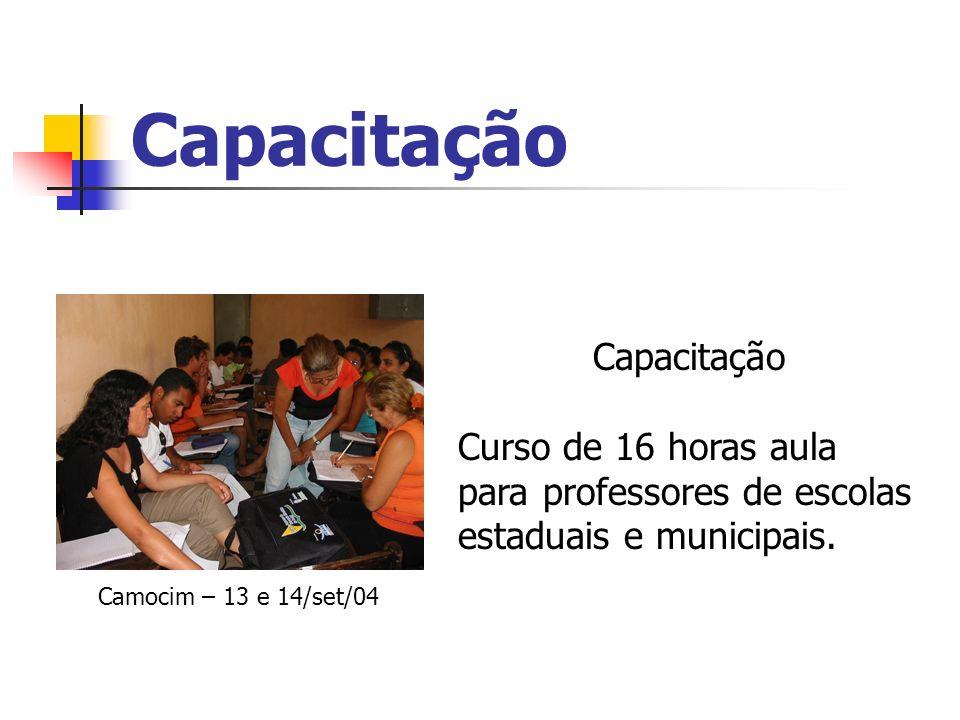 Capacitação Curso de 16 horas aula para professores de escolas estaduais e municipais. Camocim – 13 e 14/set/04