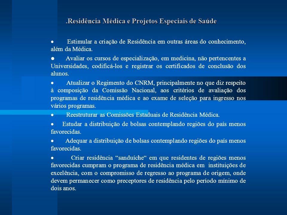 .Residência Médica e Projetos Especiais de Saúde Estimular a criação de Residência em outras áreas do conhecimento, além da Médica.
