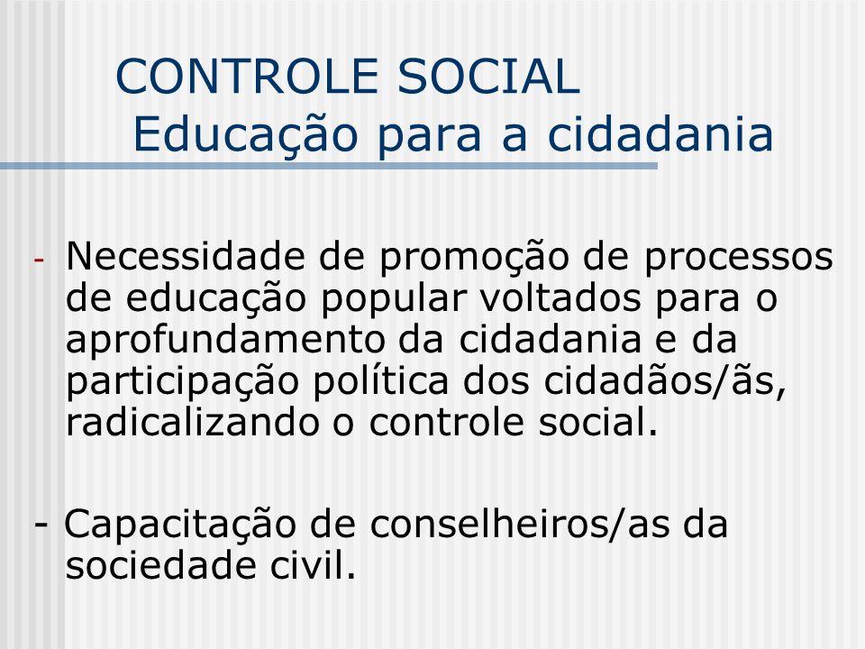 CONTROLE SOCIAL Educação para a cidadania - Necessidade de promoção de processos de educação popular voltados para o aprofundamento da cidadania e da
