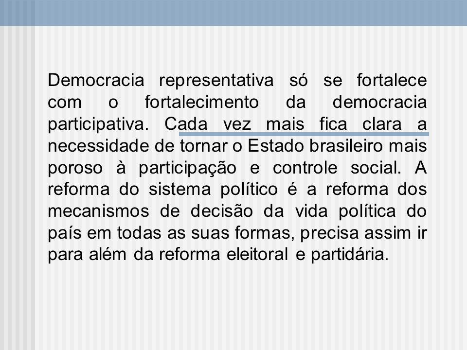 Democracia representativa só se fortalece com o fortalecimento da democracia participativa. Cada vez mais fica clara a necessidade de tornar o Estado