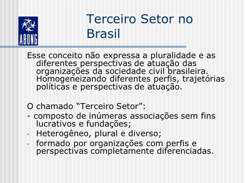 Terceiro Setor no Brasil Esse conceito não expressa a pluralidade e as diferentes perspectivas de atuação das organizações da sociedade civil brasilei