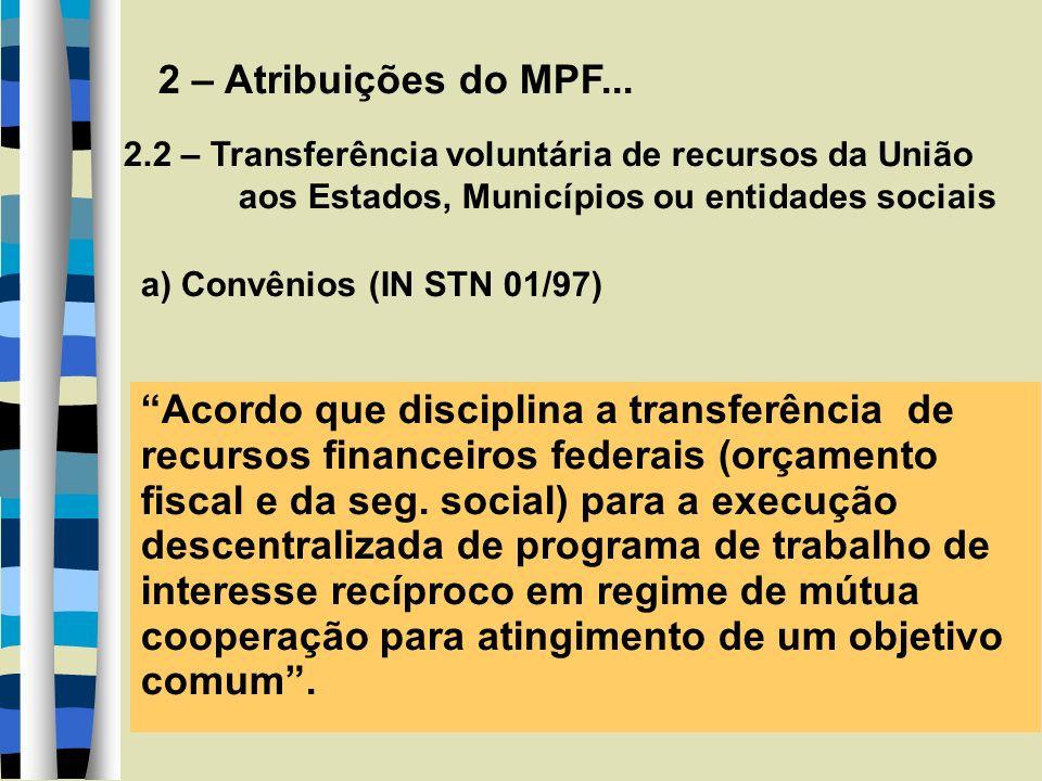 2 – Atribuições do MPF... 2.2 – Transferência voluntária de recursos da União aos Estados, Municípios ou entidades sociais a) Convênios (IN STN 01/97)