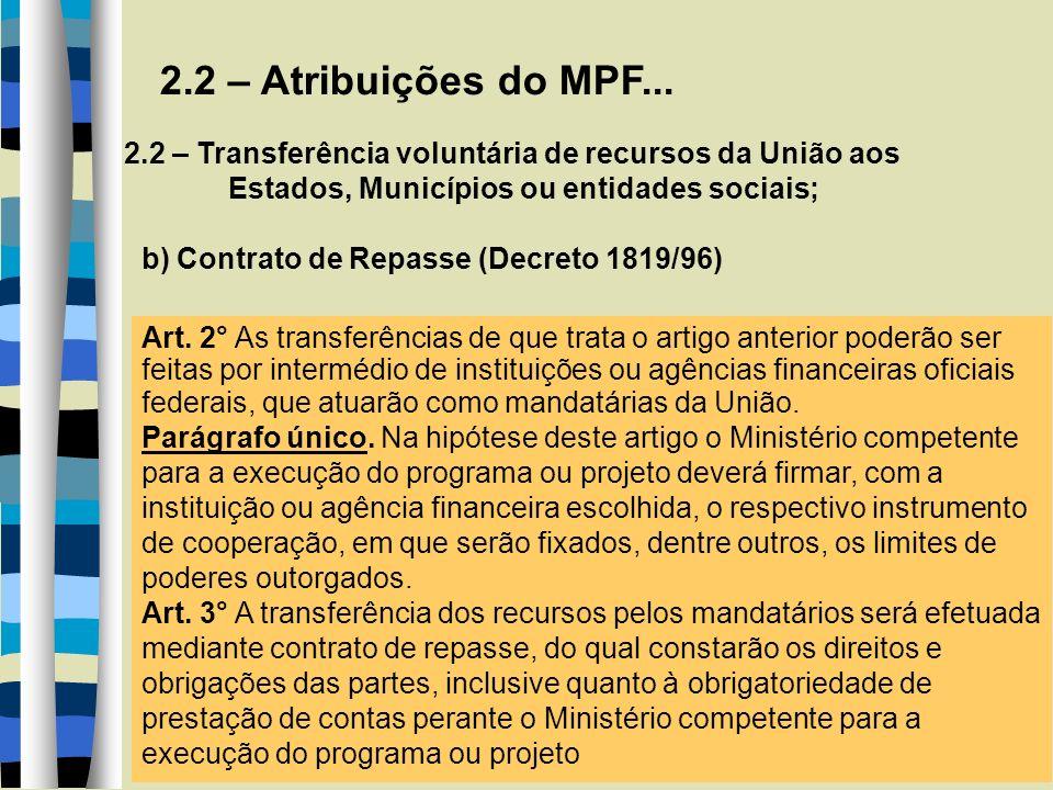 2.2 – Atribuições do MPF... 2.2 – Transferência voluntária de recursos da União aos Estados, Municípios ou entidades sociais; b) Contrato de Repasse (