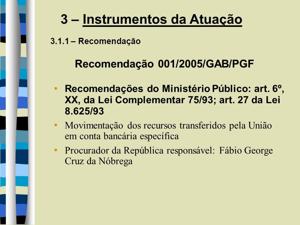 3 – Instrumentos da Atuação 3.1.1 – Recomendação Recomendação 001/2005/GAB/PGF Recomendações do Ministério Público: art. 6º, XX, da Lei Complementar 7