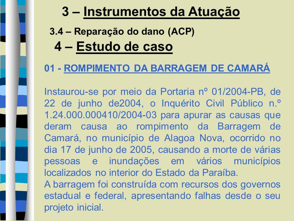 3 – Instrumentos da Atuação 3.4 – Reparação do dano (ACP) 4 – Estudo de caso 01 - ROMPIMENTO DA BARRAGEM DE CAMARÁ Instaurou-se por meio da Portaria n