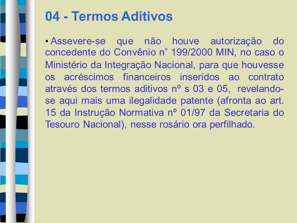 04 - Termos Aditivos Assevere-se que não houve autorização do concedente do Convênio n° 199/2000 MIN, no caso o Ministério da Integração Nacional, par