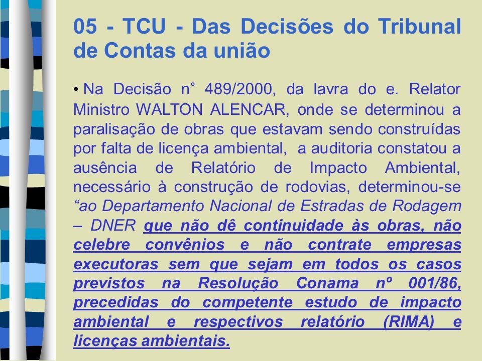 05 - TCU - Das Decisões do Tribunal de Contas da união Na Decisão n° 489/2000, da lavra do e. Relator Ministro WALTON ALENCAR, onde se determinou a pa