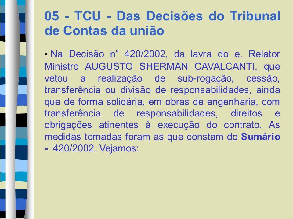 05 - TCU - Das Decisões do Tribunal de Contas da união Na Decisão n° 420/2002, da lavra do e. Relator Ministro AUGUSTO SHERMAN CAVALCANTI, que vetou a