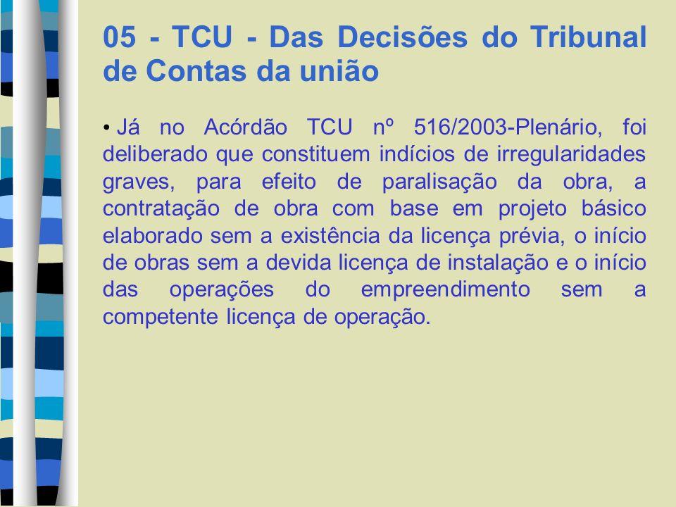 05 - TCU - Das Decisões do Tribunal de Contas da união Já no Acórdão TCU nº 516/2003-Plenário, foi deliberado que constituem indícios de irregularidad