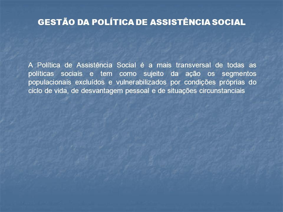 GESTÃO ESTADUAL Nível de coordenação do Sistema Estadual de Assistência Social responsável pela coordenação dos benefícios, serviços, programas e projetos assistenciais de iniciativa do próprio Estado.