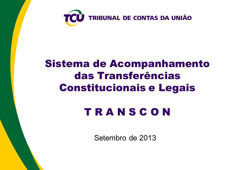 Principais Funcionalidades Cadastrar Plano de Transferência Cadastrar Decisão Normativa (*) Cadastrar Beneficiários Importar Indicadores (atualmente 11) Calcular Tabela de Coeficientes (FPE, FPM, IPI-EXP, CIDE- EST, CIDE-MUN, FUNDEB) Consultar Coeficientes de um Beneficiário Emitir Arquivo DAF663 para o Banco do Brasil (FP, IPI-EXP, CIDE) Cadastrar Contestações