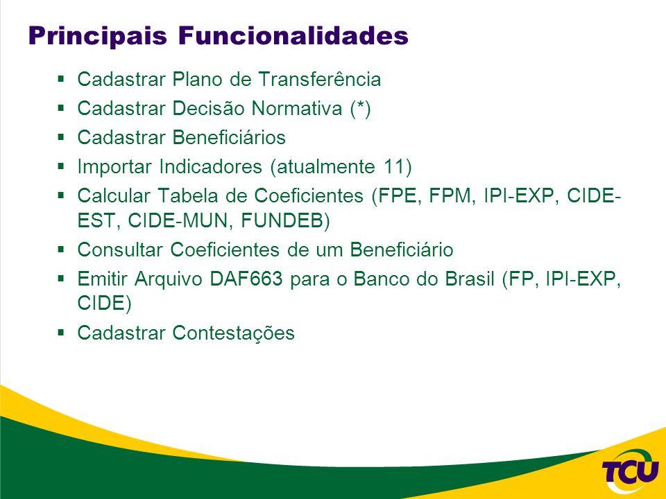 Principais Funcionalidades Cadastrar Plano de Transferência Cadastrar Decisão Normativa (*) Cadastrar Beneficiários Importar Indicadores (atualmente 1