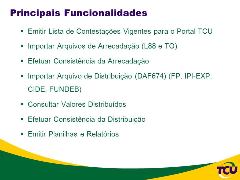 Principais Funcionalidades Emitir Lista de Contestações Vigentes para o Portal TCU Importar Arquivos de Arrecadação (L88 e TO) Efetuar Consistência da