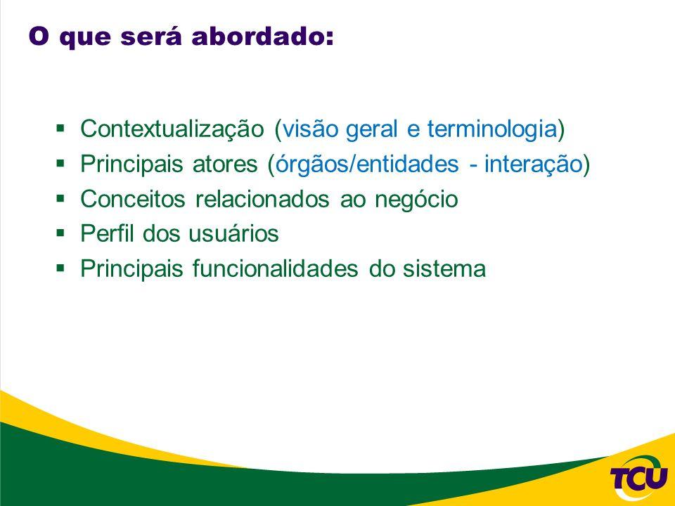 O que será abordado: Contextualização (visão geral e terminologia) Principais atores (órgãos/entidades - interação) Conceitos relacionados ao negócio