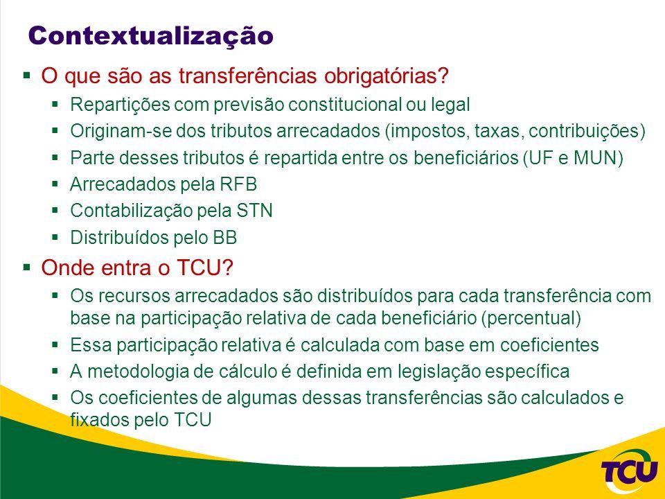 Contextualização O TCU é responsável pelo cálculo e fixação dos coeficientes das seguintes transferências: FPE, FPM, IPI-EXP, CIDE- EST e CIDE-MUN O TCU é responsável pela fiscalização da entrega dos recursos financeiros, isto é, se a distribuição pelo Banco do Brasil está sendo realizada em conformidade com os coeficientes fixados e se os valores foram depositados O TCU é responsável pelo acompanhamento, junto aos órgãos competentes da União, da classificação das receitas que dão origem às transferências O responsável pela fixação do FUNDEB é o FNDE e o TCU fiscaliza a conformidade dos cálculos e a entrega dos recursos