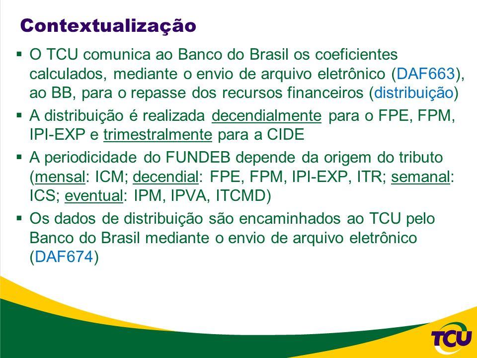 Contextualização Os tributos que dão origem às transferências são: FPE: IR e IPI (21,5%) FPM: IR e IPI (22,5% + 1%) IPI-EXP: IPI (10%) CIDE: CIDE (29%) FUNDEB: FPE, FPM, IPI-EXP, ITR; ICMS, IPVA, ITCMD; IPI-EXP-M (20%) Os valores dos tributos que originam as transferências do FPE, FPM, IPI-EXP e CIDE são arrecadados pela RFB e repassados no período de distribuição seguinte Os arquivos de arrecadação (L88 e TO) são encaminhados ao TCU pelo SERPRO (L88 decendial, TO eventual)