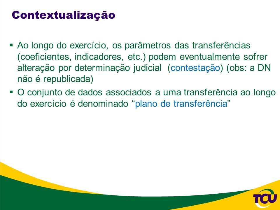 Contextualização Ao longo do exercício, os parâmetros das transferências (coeficientes, indicadores, etc.) podem eventualmente sofrer alteração por de